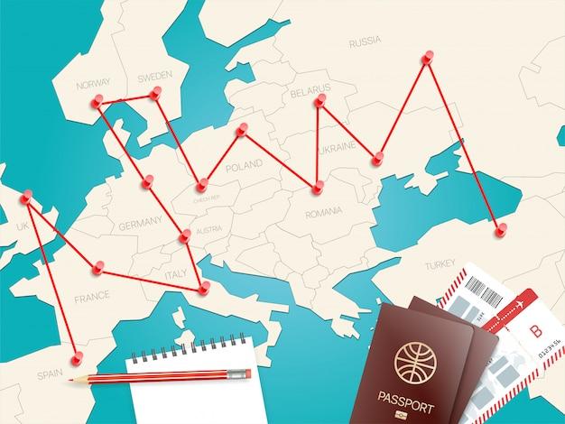 Koncepcja miejsc podróży z mapą