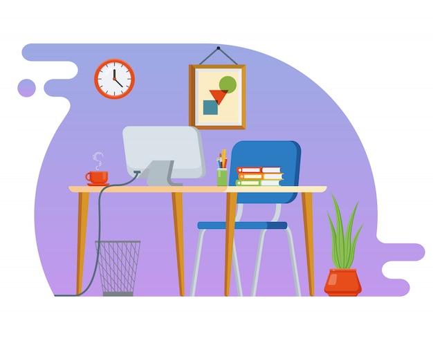 Koncepcja miejsca pracy z urządzeniami komputerowymi i biurowymi.
