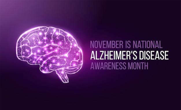 Koncepcja miesiąca świadomości choroby alzheimera. szablon transparentu z fioletową wstążką i tekstem. ilustracja wektorowa.