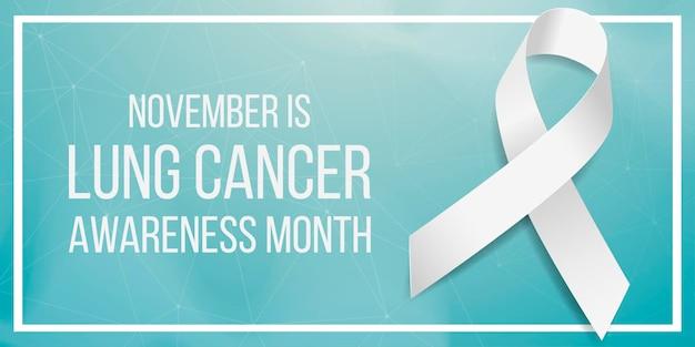 Koncepcja miesiąca świadomości raka płuc. szablon transparentu z białą wstążką świadomości. na białym tle na ciemnym tle. ilustracja wektorowa.
