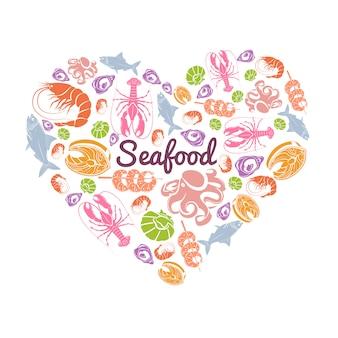Koncepcja miłości owoce morza