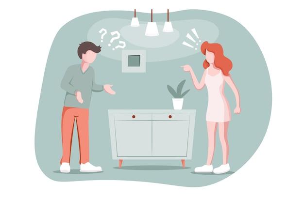 Koncepcja miłości rozpad rozwodu para małżeńska kłóci się kobieta oskarża mężczyznę o coś niezrozumienia argumentu urazy i manipulacji w wektorze problemu relacji miłosnej