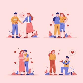 Koncepcja miłości w płaskiej konstrukcji ilustracji