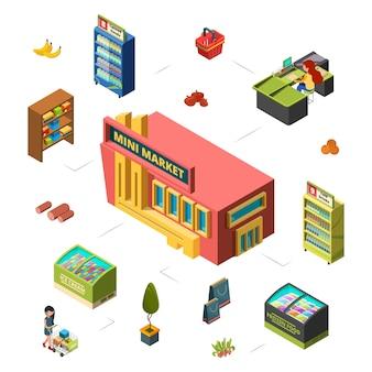 Koncepcja mini marketu. ilustracja izometryczna sklepu spożywczego. budowa rynku, liczniki, klient. sprzedaż na rynku sklepowym, supermarket komercyjny