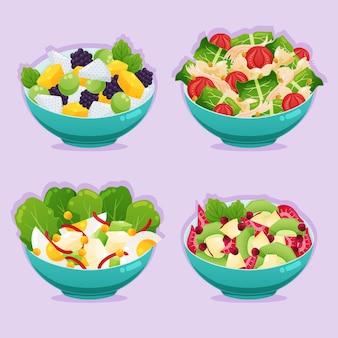 Koncepcja miski owoców i sałatek