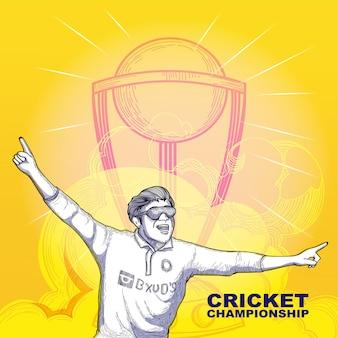 Koncepcja mistrzostwa krykieta z doodle gracza krykieta stylu w zwycięskiej pozie i puchar trofeum na streszczenie żółtym tle.