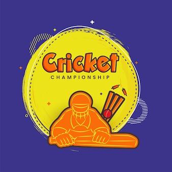 Koncepcja mistrzostwa krykieta z naklejki styl batsman player, piłka hit wicket kikut na żółtym i fioletowym tle.
