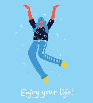 Koncepcja młodych ludzi skaczących na niebieskim tle stylowa nowoczesna karta ilustracji wektorowych z...