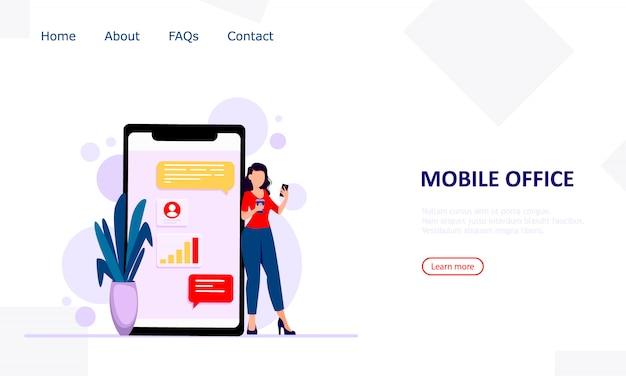 Koncepcja mobilnego biura. nowoczesne miejsce pracy