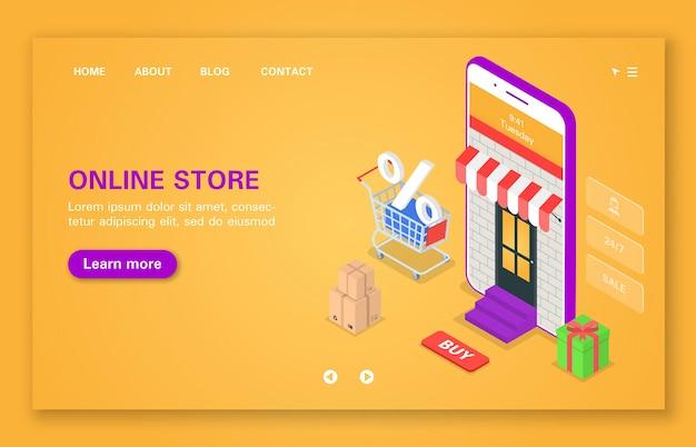 Koncepcja mobilnego sklepu internetowego godziny wsparcia rabaty, premie i prezenty izometryczne