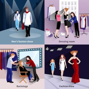 Koncepcja modelu mody zestaw z wybiegu i backstage płaskie ikony