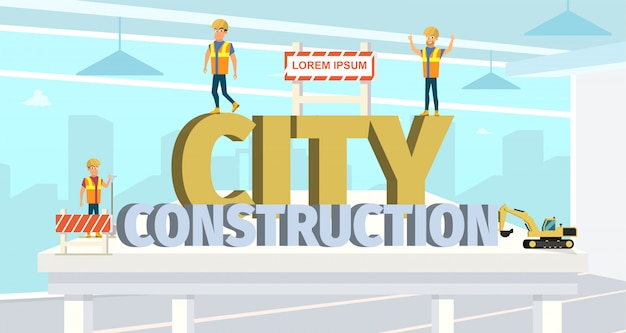 Koncepcja modern city construction buildings