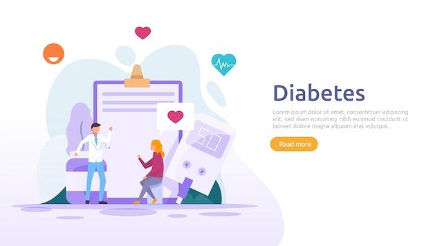 Koncepcja monitorowania cukrzycy. poziom cukru we krwi mierzy się za pomocą glukometru. leczenie zastrzykiem insuliny i terapia kontrolująca dietę. szablon ilustracji dla strony docelowej