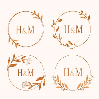 Koncepcja monogramy wesele kwiatowy