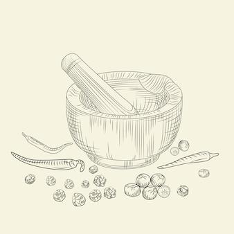 Koncepcja moździerz i tłuczek. zestaw papryki. mielenie przypraw i składników żywności.