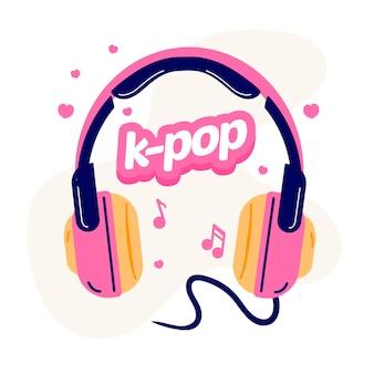 Koncepcja muzyki k-pop zilustrowana różowymi słuchawkami