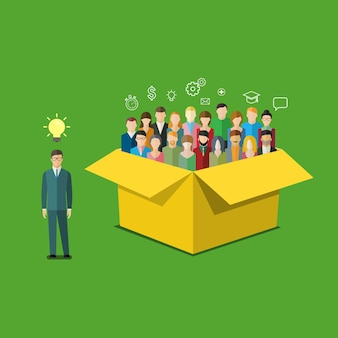 Koncepcja myślenia nieszablonowego. biznesmen jest poza polem z ludźmi. ilustracja wektorowa płaska konstrukcja.