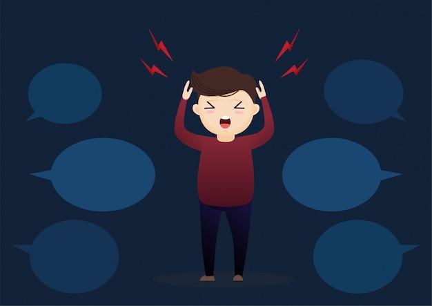 Koncepcja myślenia z bąbelkami znaków i mowy