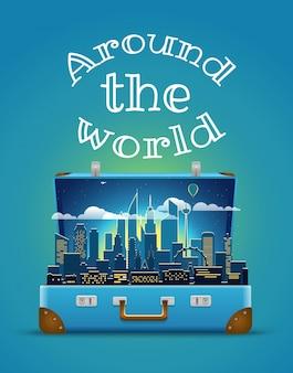 Koncepcja na całym świecie. nowożytna pejzaż miejski nocy scena