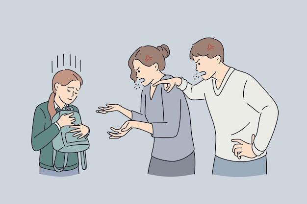 Koncepcja nadużycia w domu i skandal. wściekli wściekli rodzice mama i tata krzyczą krzycząc na ich smutną córkę trzymającą ilustrację wektorową plecaka