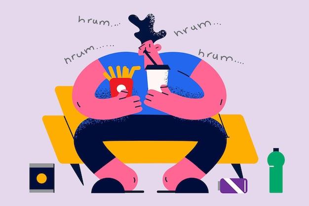 Koncepcja nadwagi, otyłości i niezdrowego jedzenia. młody uśmiechnięty mężczyzna postać z kreskówki siedzi w fotelu je burger frytki i pije lemoniadę ilustracji wektorowych