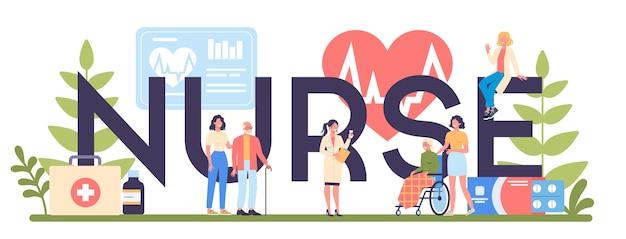 Koncepcja nagłówka typograficzne usługi pielęgniarki. zawód medyczny, personel szpitala i przychodni. profesjonalna pomoc dla starszej cierpliwości.