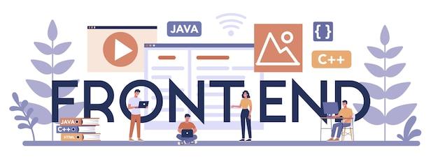 Koncepcja nagłówka typograficznego frontendu. ulepszenie projektowania interfejsu www programowanie i kodowanie. zawód it. ilustracja na białym tle płaski wektor