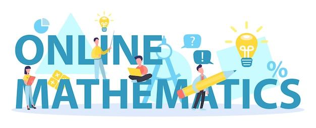 Koncepcja nagłówka typograficznego kursu matematyki online. nauka matematyki w internecie, idea nauczania i wiedzy na odległość.