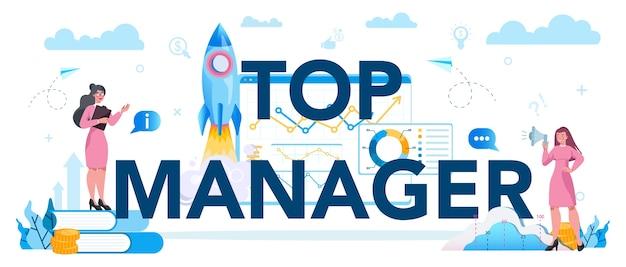 Koncepcja nagłówka typograficznego najwyższego zarządzania biznesowego. odnoszący sukcesy