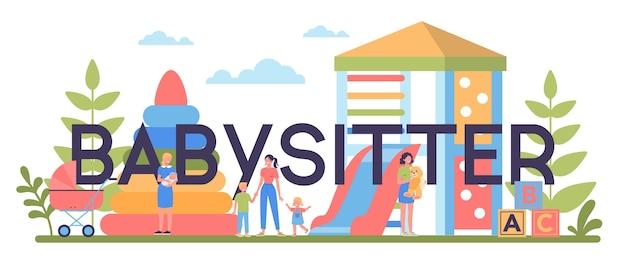 Koncepcja nagłówka typograficznego usługi opiekunki do dzieci lub agencji niania. opiekunka do dziecka w domu. kobieta dba o dziecko, bawi się z dzieckiem.