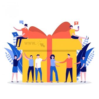 Koncepcja nagrody online. młoda grupa szczęśliwych ludzi dostaje bonusy i otrzymuje pudełka z prezentami.
