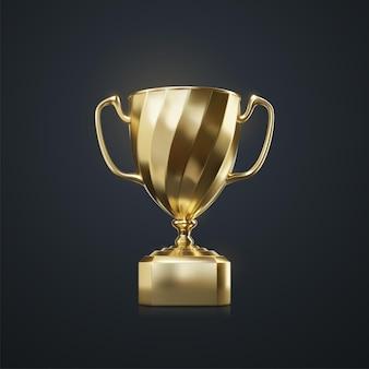 Koncepcja nagrody sportowej złotego pucharu mistrza na czarnym tle