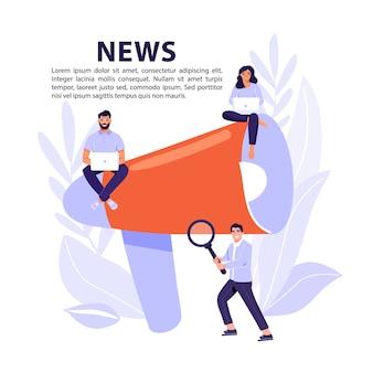 Koncepcja najświeższych wiadomości online. megafon informujący ludzi o nowościach.
