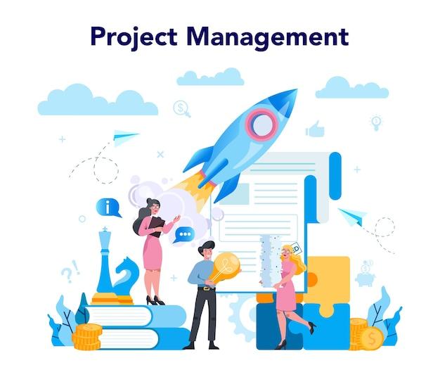 Koncepcja najwyższego zarządzania biznesowego. skuteczna strategia, motywacja i przywództwo. kierownik projektu, pomysł na prezesa firmy.