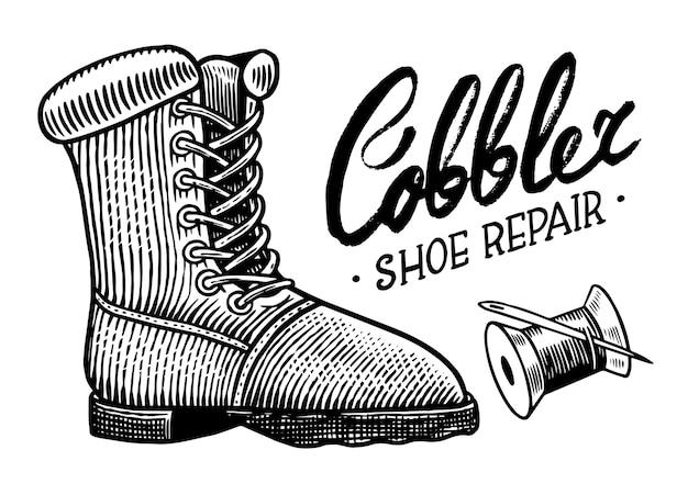 Koncepcja naprawy butów na białym tle