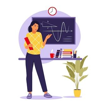 Koncepcja nauczania. kobieta nauczyciel w pobliżu tablicy. ilustracja wektorowa. mieszkanie