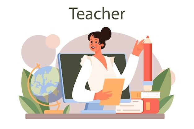 Koncepcja nauczyciela. ilustracja na białym tle płaski wektor
