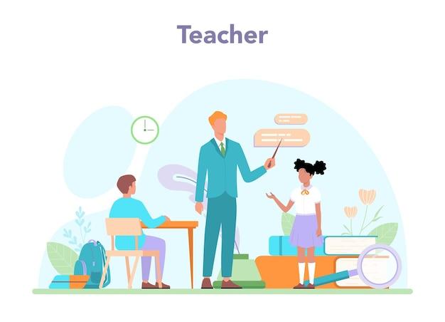Koncepcja nauczyciela. profesor prowadzący lekcję online lub w klasie