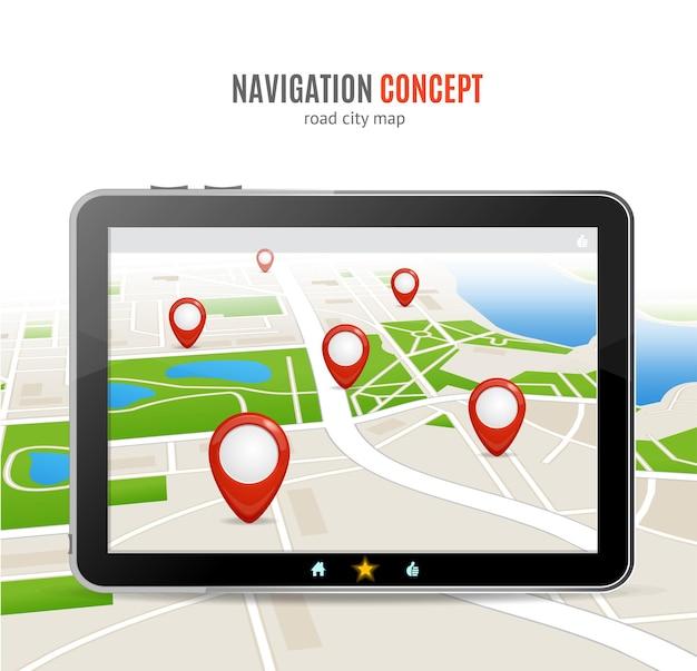 Koncepcja nawigacji. gadżety na podróż lub wycieczkę.