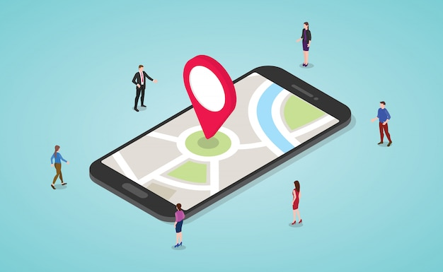 Koncepcja nawigacji gps z ludźmi i smartfonem, mapy i znacznik z nowoczesnym stylu izometrycznym płaski