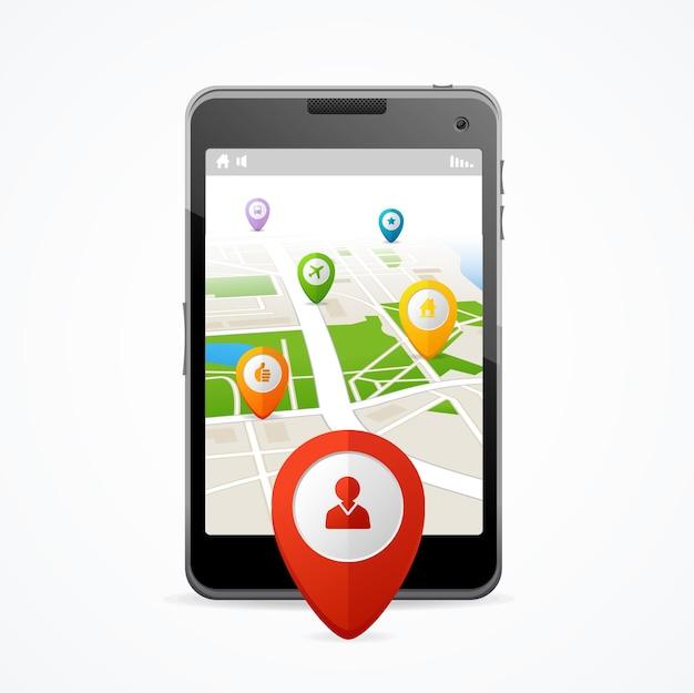 Koncepcja nawigacji. płaska konstrukcja. aplikacja na smartfony.