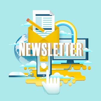 Koncepcja newslettera, kliknięcie ręką na smartfonie