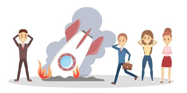 Koncepcja niepowodzenia rozruchu. pojęcie problemu biznesowego i stresu. kryzys i bankructwo. zepsuta rakieta jako metafora. ilustracja na białym tle płaski wektor