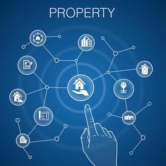 Koncepcja nieruchomości, niebieskie tło. rodzaj nieruchomości, wyposażenie, umowa najmu, ikony planu piętra