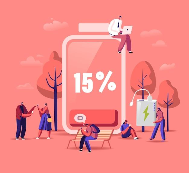 Koncepcja niskiego poziomu baterii. postacie męskie i żeńskie ładują urządzenia, telefony komórkowe i gadżety.
