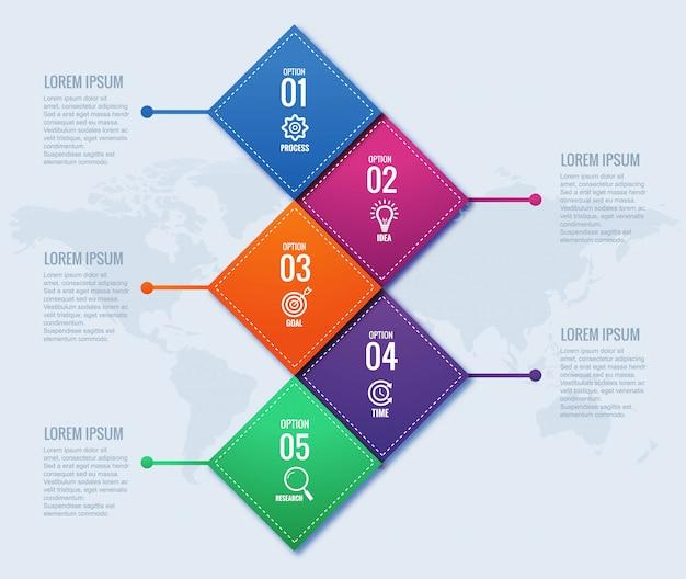 Koncepcja nowoczesnego biznesu infografiki z czterech kroków