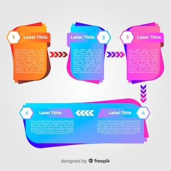 Koncepcja nowoczesnego gradientu infographic kroki