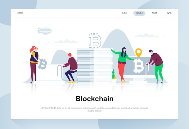 Koncepcja nowoczesnego płaskiego projektowania blockchain.