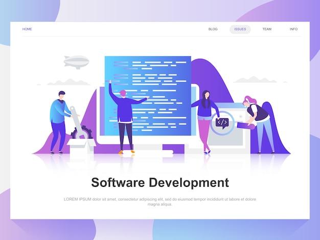 Koncepcja nowoczesnego płaskiego projektowania rozwoju oprogramowania.