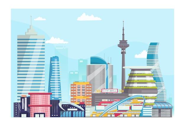 Koncepcja nowoczesny futurystyczny krajobraz miejski